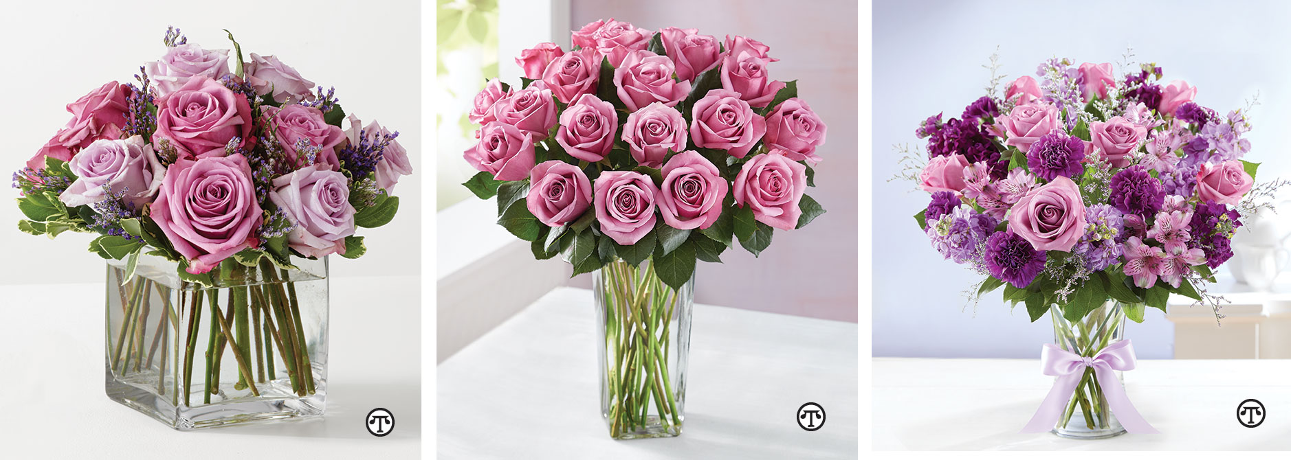 Lavender And Purple Roses In A Chic Clear Vase Make The Graceful Bouquet Beautiful